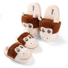 Plush Soft Adults Kid Monkey Pattern Slippers Cute Winter Warm Indoor Home Shoes