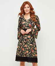 Joe Browns Womens Floral Print Jersey Dress with Lace Trim