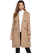 Women's Classic Lapel Double Breasted Wool Blend Long Trench Jacket Pea Coat