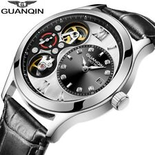 GUANQIN Business Automatic Skeleton Jewel Dial Auto Date Leather Men's Watch