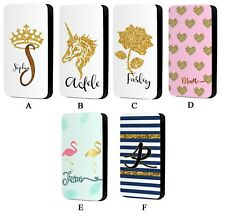 Personalised Name Phone Case Marble Initial Faux Leather Flip Phone Case Cover