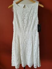 NEW ZARA WHITE GUIPURE FLORAL LACE DRESS WITH OPEN BACK BLOGGER STYLE S