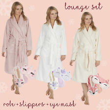 Ladies Luxury Dressing Gown Bath Robe + Unicorn Fox Slippers and Eye Mask Set UK