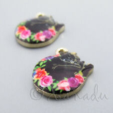 Black Cat Charms 21mm Gold Plated Happy Kitty Pendants C0126608 - 2, 5 Or 10PCs