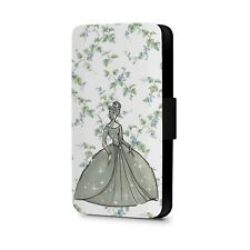 Cinderella From Disney Princess With Floral Faux Leather Flip Phone Case Cover