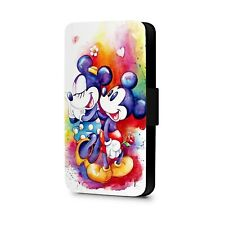 Cute Disney Comics Mickey And Minnie Mouse Faux Leather Flip Phone Case Cover
