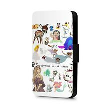 Cartoon Princesses Movies Characters Collage Faux Leather Flip Phone Case Cover