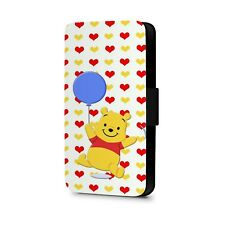Winnie The pooh Cute Bear Play With Balloon Faux Leather Flip Phone Case Cover