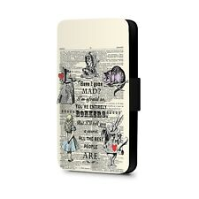 Have I Gone Mad Alice in Wonderland Quote Faux Leather Flip Phone Case Cover