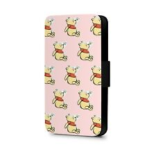 Cute Winnie The Pooh Bear and Bee Pattern Faux Leather Flip Phone Case Cover