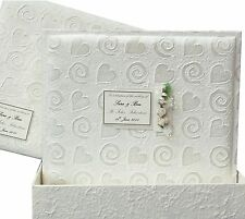 Personalised LARGE Wedding Photo Album +Box Swirls & Hearts 5 Motifs in 3Colours