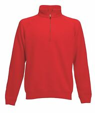 Fruit of the Loom RED Zip Neck Sweatshirt Jumper with Collar