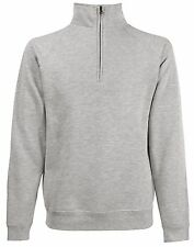 Fruit Of The Loom GREY Zip Neck Sweatshirt with Collar