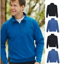 Fruit Of The Loom BLUE Zip Neck Sweatshirt with Collar