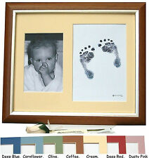 PERSONALISED New Baby Inkless Footprint Kit 12x10 Dark Oak Photo Frame 7 Designs