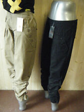 LADIES KOREAN CHINO PAPERBAG COMBAT STYLE TROUSERS RUFFLED & CUFF LEG BLK BEIGE