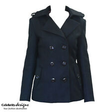 wc8s Celebrity Fashion Lookbook Classic Double Breasted Black Wool Pea Coat