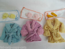 BARBIE SINDY DOLL SIZED CLOTHING DRESSING GOWN BATH ROBE & SHOES SET UK SELLER