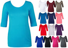 LADIES 3/4 SLEEVE LONG T-SHIRT TOP WOMENS SCOOP NECK STRETCH BODYCON DRESS 14-18