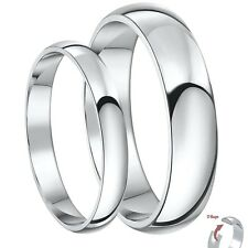 New 9ct White Gold D Shaped His & Hers 3&5mm / 4&6mm Light Weight Wedding Rings