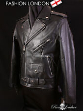 BRANDO Black Men's Biker Motorcycle Motorbike Cruiser Cowhide Leather Jacket