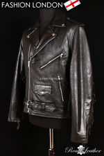 BRANDO FRINGED Black Men's Motorcycle Motorbike Cruiser Cowhide Leather Jacket