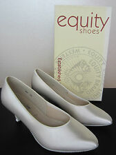 Equity Ladies Ballroom Dancing Shoes - White Satin Suede Bottoms