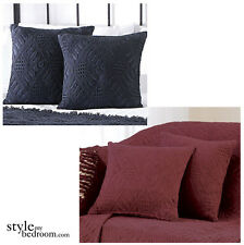 Luxury Cotton Woven Textured Filled Cushions or Cushion Covers - Black or Wine