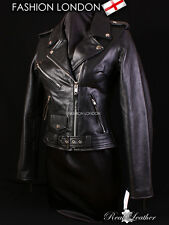 BRANDO Black Ladies Biker Motorcycle Motorbike Cruiser Cowhide Leather Jacket