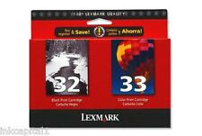 Lexmark No 32 & No 33 Original OEM Multi Pack Inkjet Cartridges