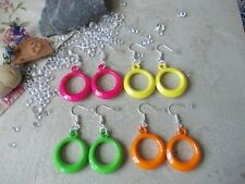 2 X 8MM  GLOW IN THE DARK EARSTUDS,STAINLESS STEEL POSTS,CHOSE COLOUR,NEON,PINK