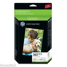 HP No 363 Set of 6 Original OEM Value Pack Q7966E + 150 Photo Paper