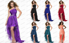 One-shoulder High Low Bridesmaid Cocktail Formal Prom dress Party Evening Dress