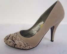 F9402 - Spot On Court Shoes Natural Faux Suede and Snakeskin Effect  - *SALE*
