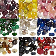 100 Gram Bag of Mixed Fancy India Lampwork Glass Beads in Mixed Sizes & Shapes