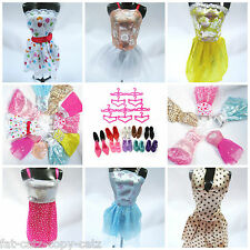 LOT OF 12, 15 or 20 BARBIE DOLL SHORT DRESSES SHOES BOOTS & ACCESSORIES UKSELLER