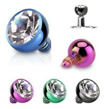 New Anodised Titanium Ball Dermal Anchor Head with Clear Gem 1.6mm 14gauge