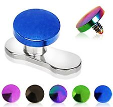 New Anodised Titanium Dermal Anchor Disc Head Top 1.6mm Surface Piercing