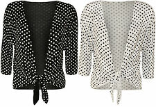 New Womens Plus Size Polka Dot Spot Tie Up Ladies Print Shrug Top Cardigan 12-26