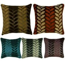 "Thick Chenille Leaf Design Filled Cushions or Cushion Covers 17x17"" / 43x43cm"