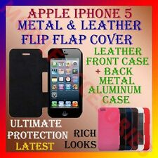 ACM-APPLE IPHONE 5 RICH PREMIUM LEATHER & METAL ALUMINUM FLIP FLAP COVER POUCH