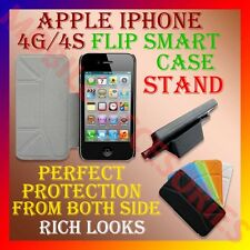 ACM-SMART COVER for APPLE IPHONE 4S 4G 4 STAND LEATHER FLIP FLAP FRONT BACK