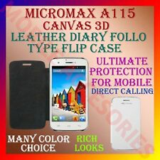 ACM-LEATHER DIARY FOLIO FLIP FLAP CASE for MICROMAX A115 CANVAS 3D MOBILE COVER