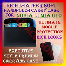 ACM-RICH LEATHER SOFT CARRY CASE for NOKIA LUMIA 610 WINDOWS MOBILE POUCH COVER