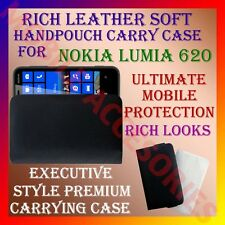 ACM-RICH LEATHER SOFT CARRY CASE for NOKIA LUMIA 620 WINDOWS MOBILE POUCH COVER
