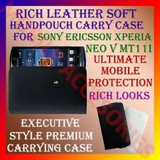 ACM-RICH LEATHER SOFT CARRY CASE of SONY ERICSSON XPERIA NEO V MT11i COVER NEW