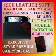 ACM-RICH LEATHER SOFT CARRY CASE SPICE SMART FLO IVORY MI-450 MOBILE COVER POUCH