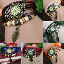 QUARTZ FASHION WEAVE WRAP AROUND LEATHER BRACELET GIRL LADIES WOMEN WRIST WATCH