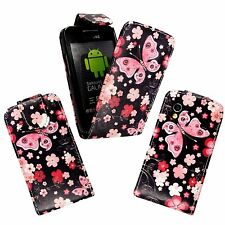 BLACK PINK FLOWER AND BUTTERFLYPU LEATHER FLIP CASE FOR SAMSUNG GALAXY ACE S5830