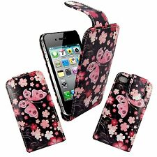 BLACK PINK FLOWER AND BUTTERFLY DESIGN FLIP COVER CASE FOR APPLE IPHONE 4G 4S
